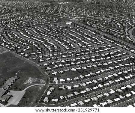 An Aerial view of the Levittown housing project in Pennsylvania. It was located in the eastern part of the State, in the Delaware River Valley. Photo by Ed Latcham. - stock photo