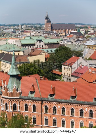 An aerial view of the old town of Cracow, Poland. - stock photo