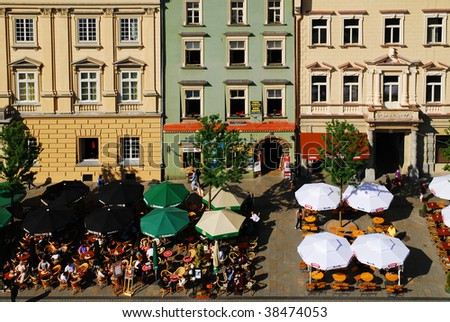 An aerial view of the old town of Cracow, Poland. See more in my portfolio. - stock photo