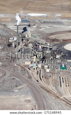 An aerial view of the processing facility at a phosphate mine