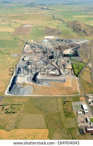 An aerial view of the refining plant at a mine