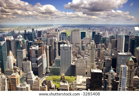 An aerial view of Upper Manhattan, New York - stock photo