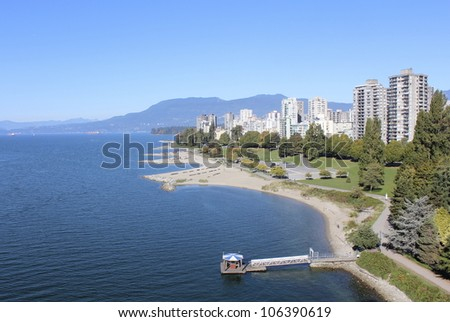 An aerial view of Vancouver's West End/Vancouver/Looking west to Vancouver's West end on English Bay