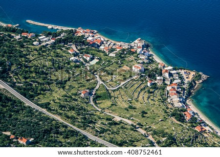 An aerial view of village of Drasnice located on Makarska Riviera - stock photo
