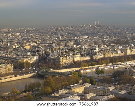 An aerial view on Paris city, France