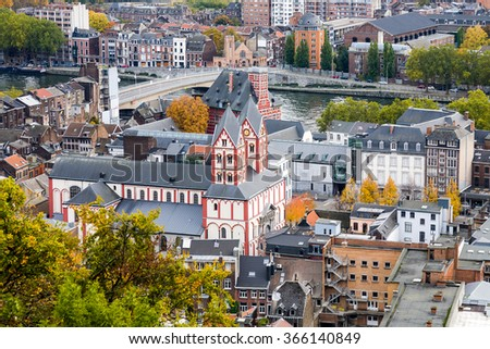 An aerial view on the city of Liege in the Wallonia region of Belgium with Saint Bartholomew church and Curtius Museum