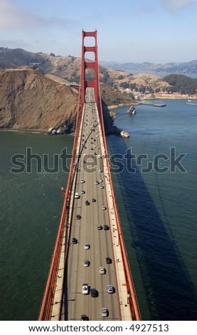 An aerial view on the Golden Gate Bridge (San Francisco, CA). - stock photo