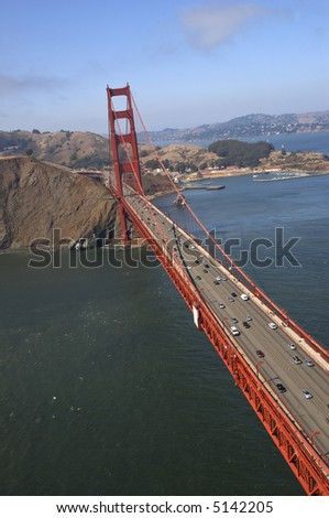 An aerial view on the Golden Gate Bridge (San Francisco, CA) shot from the crazily tilted helicopter.