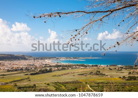 An aerial view on the resort town of San Vito Lo Capo and the mediterranean sea in northern Sicily, Italy