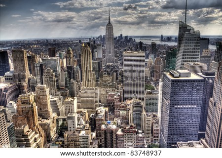 An aerial view over New York city - stock photo