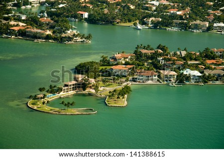 An aerial view over residential area in Miami, Florida. - stock photo