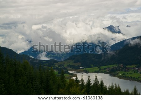An aerial view to Lake Weissensee  situated at a height of 930m in Carinthia/Austria.