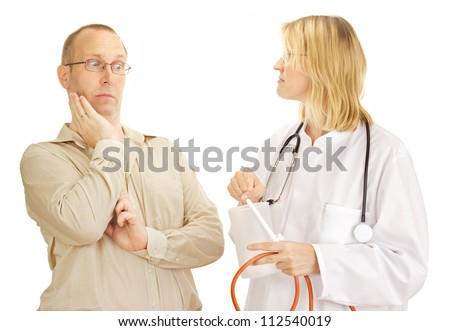 An afraid patient - stock photo