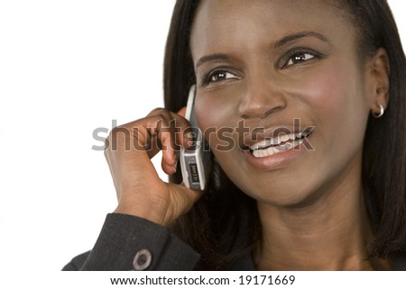 An African American businesswoman chatting on her mobile phone