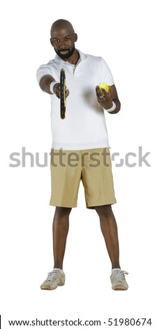 An African American male challenging you to a game of tennis isolated on a white background