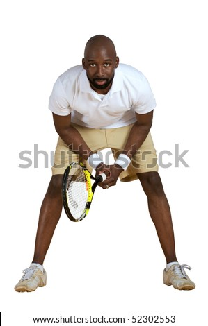 An African American ready to play tennis isolated on a white background