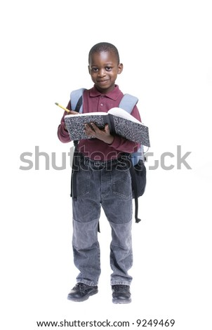 An african american student ready for school. Education, learning - stock photo