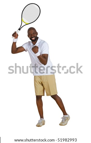 An African American tennis player celebrating isolated on a white background