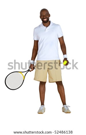 An African American tennis player ready to play isolated on a white background