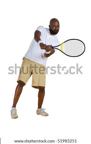 An African American tennis player swinging a tennis racket isolated on a white background