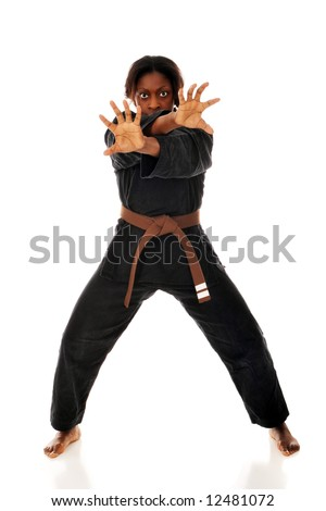 An African AMerican woman in a karate uniform and stance.  Isolated on white. - stock photo