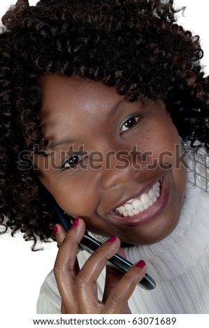 An African American woman talking on the phone - stock photo