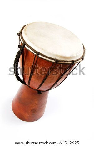 An African drum isolated on a white background - stock photo