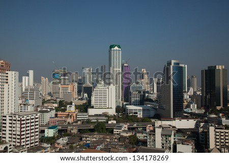 An afternoon view of skyscrapers in Bangkok taken from near the Chao Phraya River