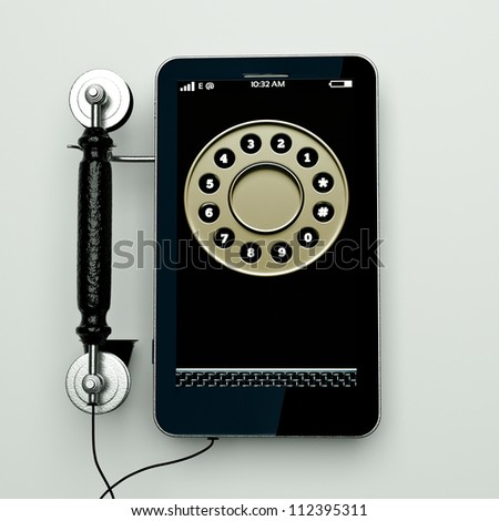 an age shift concept, combination of old and new phones in one - stock photo