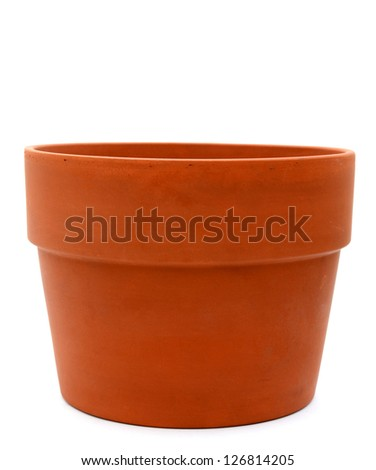 An aged flower pot isolated on white