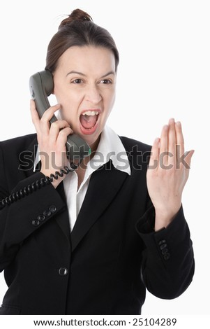 An agressive woman in a financial trading role buying a quantity of 50. - stock photo