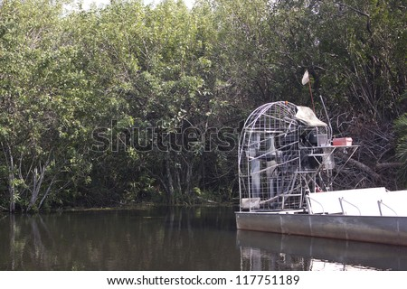 An air boat in the Everglades National Park - stock photo
