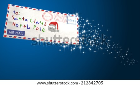 An airmail envelope  addressed to santa claus flying through the air with a sparkling trail on an isolated blue background - stock photo