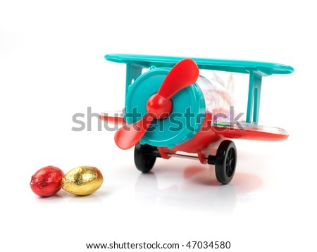 An airplane easter egg toy isolated against a white background - stock photo