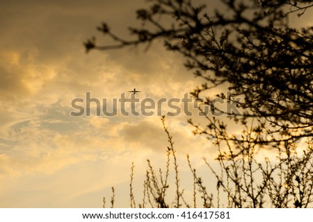 An airplane flying in the blue sky with clouds and the branches of trees - stock photo