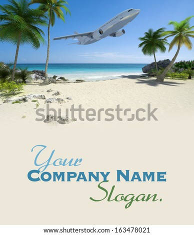 An airplane flying over an exotic tropical beach  - stock photo