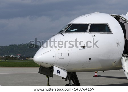 An Airplane front Deck. - stock photo