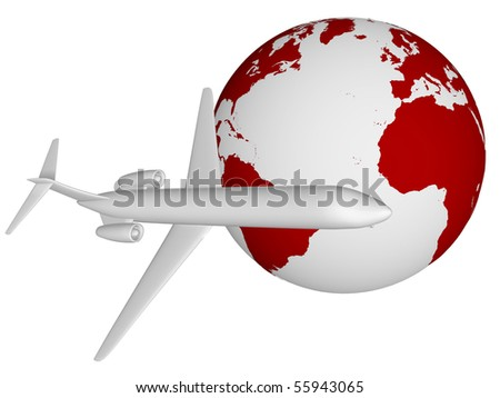An airplane is flying around the world