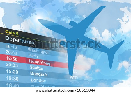 An airplane is flying in the sky with a  departure list in the background. - stock photo