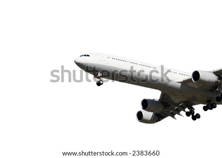 An airplane is ready to land. Isolated on white background - stock photo