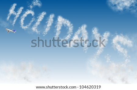 an airplane writing a word holidays on the sky / holidays - stock photo