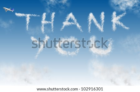 an airplane writing words thank you on the sky / thank you on sky - stock photo