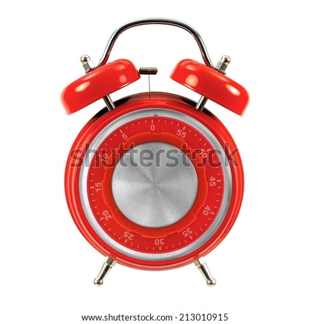 An alarm clock isolated ahgainsdt a white background - stock photo