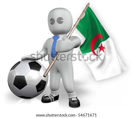An Algeria football fan with a ball and a flag - stock photo