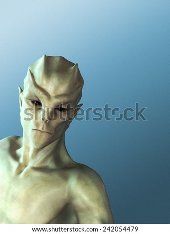 An alien portrait on a blue background with space for your message - 3d render. - stock photo