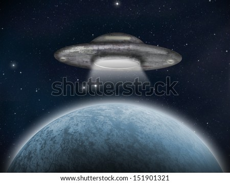 An alien space craft or UFO near an earth-like planet. Artist Impression. - stock photo