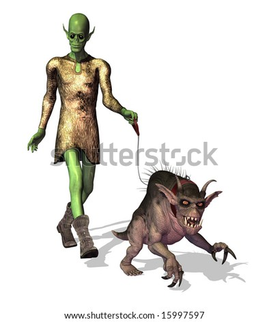 An alien takes his pet gryphon for a stroll on the planet Xzermarn. - stock photo