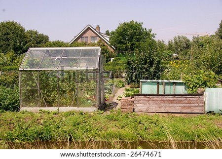 an allotment garden with a glasshouse - stock photo
