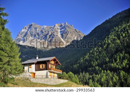 An alpine chalet in a forested alpine valley in Switzerland with a mountain peak beyond. Space for text in the clear blue sky.