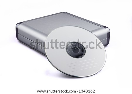 An aluminium CD holder with a blank CD resting against it. Isolated on white with path.